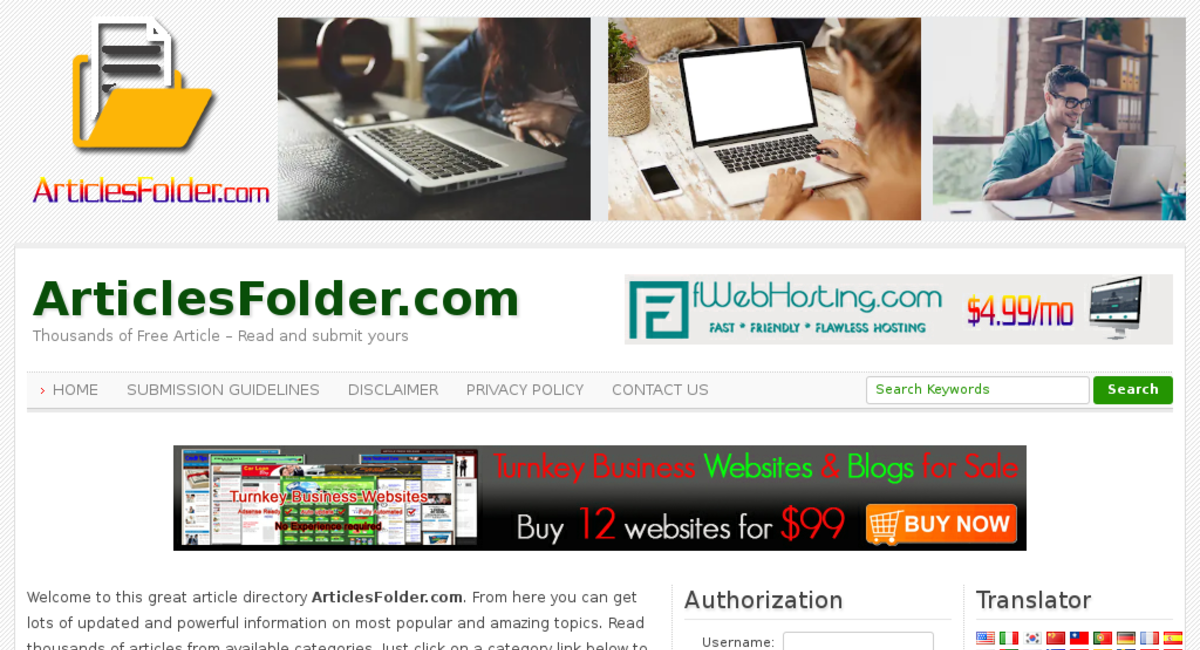 ArticlesFolder com — Starter Site Listed on Flippa: No