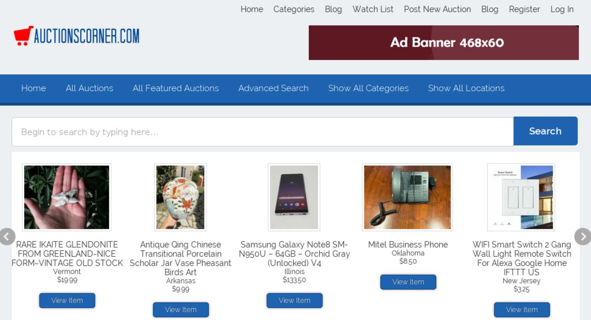 Auctionscorner Com Starter Site Sold On Flippa Fantastic Auctions Website 19 Categories Start Your Online Auction Business