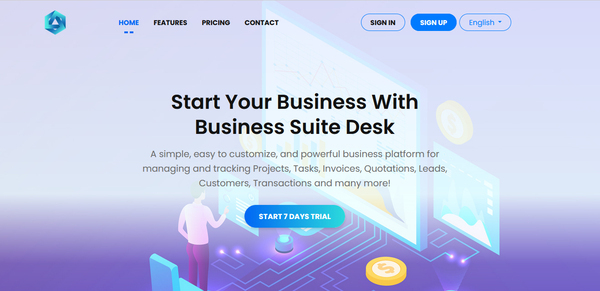businesssuitedesk.xyz - businesssuitedesk.xyz is a custom SaaS Application for managing any kind of business. Earn money by selling subscription to other company or individual client.