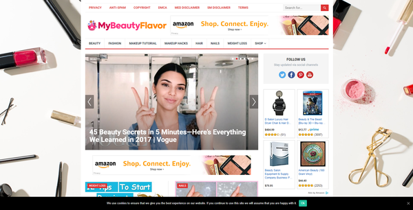 MyBeautyFlavor.com - 100% Autopilot & Automated Beauty Niche Site To Make Money Online From Amazon Ads, Affiliate Links - 200 Amazon Products Imported