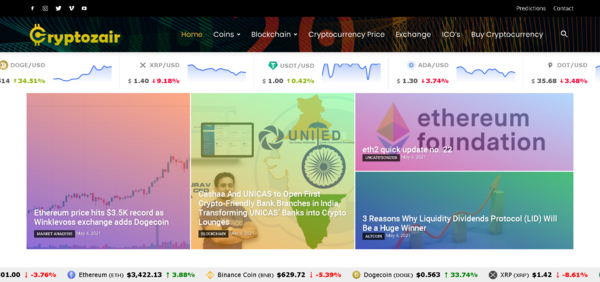 cryptozair.com - Crypto is Booming - Fully Automated Cryptocurrency News, Price & Marketplace