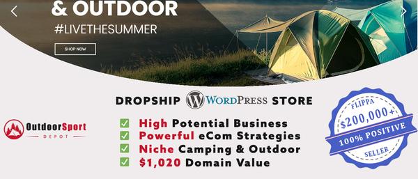 OutdoorSportDepot.com - TOP VALUE Camping & Outdoor Dropship Shop + eCom mentoring [$3,584/mo Potential]