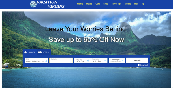 VacationVirgins.com - Automated Travel Search Engine - Value $1135+. Just Add Traffic.Newbie Friendly.