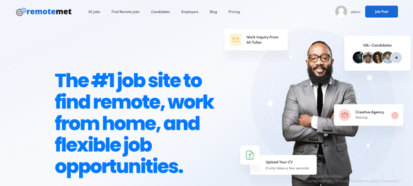 remotemet.com - Remote Job Portal with Premium Design. Newbie Friendly. Earn up to 10k$ / month