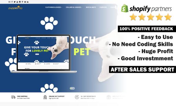PuppiesTop.com - DOG Supplies Dropship Store. Domain Value $1,402. USA & International Market
