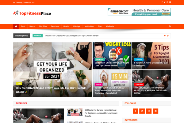 TopFitnessPlace.com - 100% Automated Fitness Site - Great Profitable - Earn From Ads - No Experience Needed - Huge Buy It Now Bonuses