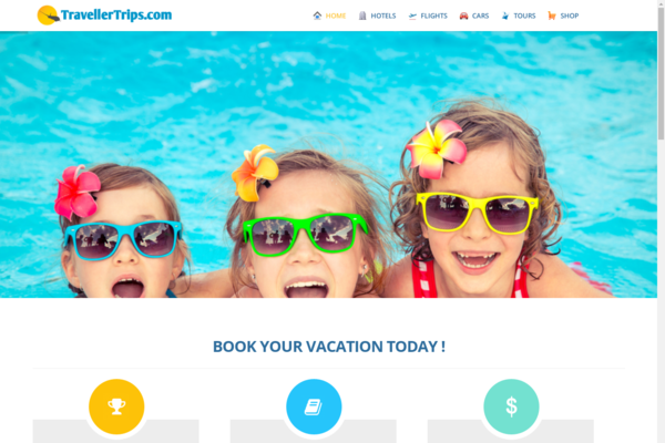 TravellerTrips.com - Automated Travel Site, Flights/Hotel/Car/Tours Engine,Make $1-4 p/Lead