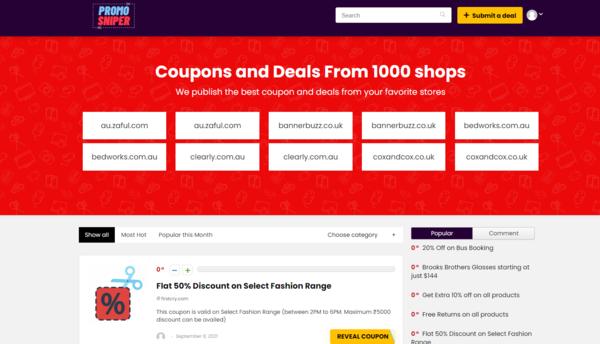 promosniper.com - PromoSniper.com - Fully Automated Coupon & Deals Website (Earn $5k/Mo)