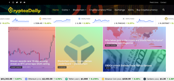 CryptozDaily.com - Crypto is Booming - Fully Automated Cryptocurrency News, Price & Marketplace