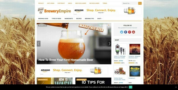 BreweryEmpire.com - Automated Brewery Niche Blog To Make Money Online from Amazon Affiliate Program