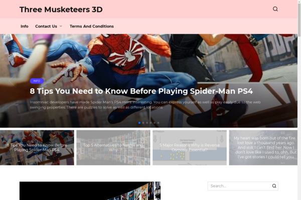 three-musketeers-3d.com - Old site about games and 3d on WordPress with organic traffic from Canada
