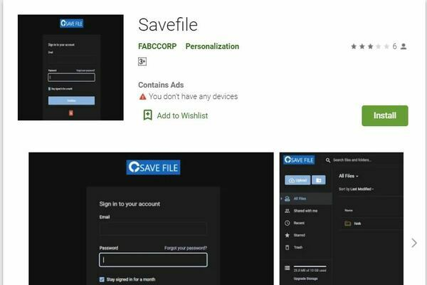 savefile.eu - Cloud Storage's Solution with a Mobile app and Web version