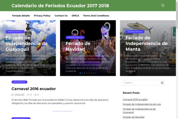 feriadosecuador.net - Holidays calendar of Ecuador. Organic traffic Ecuador Google