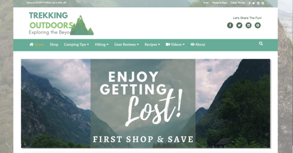 TrekkingOutdoors.com - Fast Site. HOT Camping/Outdoors Niche - Premium Design - 100% Fully Automated