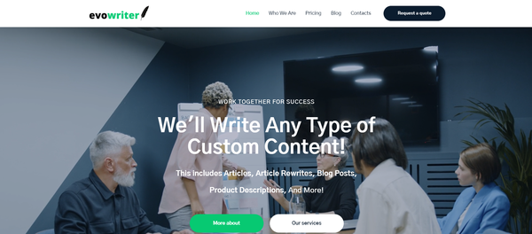 evowriter.com - Hot Automated Copywriting Company. Newbie Friendly and Outsourced Business. High Margins and High Average Order.