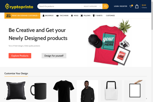 cryptoprinto.com - Start your own Print on Demand e-commerce website - Dropshipping