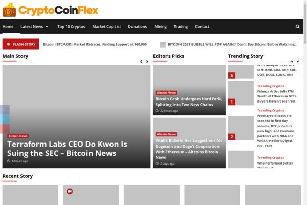CryptoCoinFlex.com - 100% Autopilot Crypto Bitcoin News Magazine Blog To Make Money Online on Crypto Ads - Premium Domain Name Valued $1300 - Newbie Friendly WordPress Site