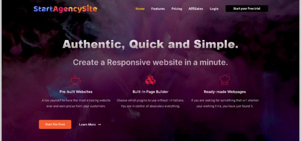 StartAgencySite.com - Turnkey WaaS Business Providing Digital Agency websites in a minute