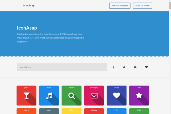 iconasap.com - Icon creation APP, customize icons from awesome 4.7 icon set & download