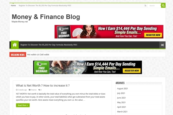 maple-money.net - Established Clickbank Affiliate Website making consistent money, Easy to operate