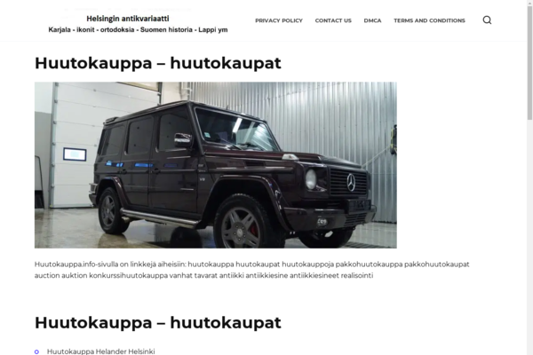 huutokauppa.info - Auctions, trade. The site was made in 2004. Website on WordPress