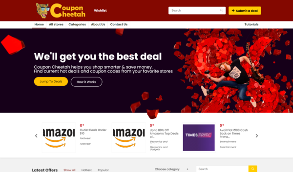 Coupon Cheetah - CouponCheetah.com is a 15 Years Old Premium Domain & Android App with estimated $1,175 Godaddy value. With an Automated Coupons software based on Wordpress.