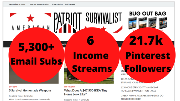 American Patriot Survivalist - This is a 2-year old Multi-Revenue Website in the Survival niche. Website made $836/mo over the last 3 months. Website has many easy wins for growth (no SEO).