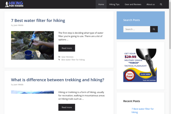 hikingforhikers.com - Hiking Blog and Hikers products reviews amazon affiliate with Unique Content