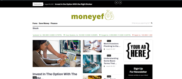 moneyef.com - Forex& Finace Blog with Unique Content 15,000 + Words. Pot. Earn Up To $5k/mo