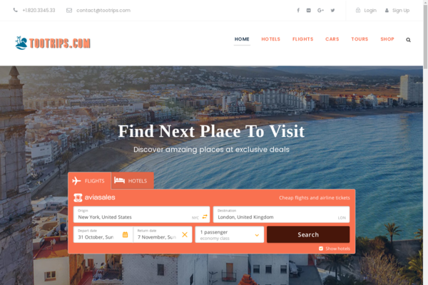 tootrips.com - Automated Travel Site, Flights/Hotel/Car/Tours Engine,Make $1-4 p/Lead