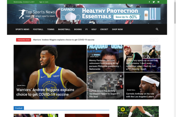 TopSportsNews.info - Fully Automated Sports Content Website!  Ready for 100% Passive Income. Business Which Will Work For You 24 Hours a Day. FREE transfer