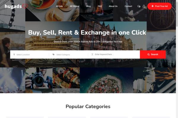 hugads.com - Classified Ads Startup with Premium Design & Killer Domain Name.