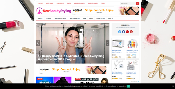 NewBeautyStyling.com - Automated Amazon Beauty Niche Blog To Make Money Online, Earn Up To $5k/mo