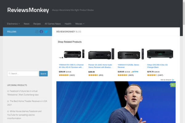 reviewsmonkey.com - D.A 36 | USA Targeted | Goolge Adsense Approved Website | Amazon Affiliate