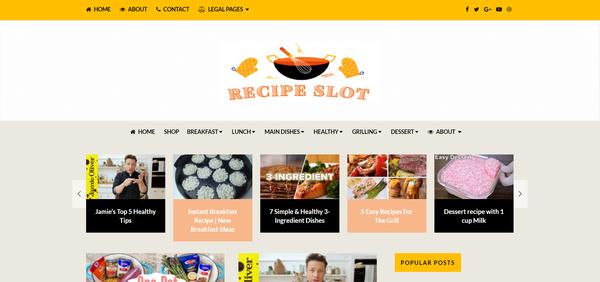 RecipeSlot.com - 100% Automated, Premium Design, Cooking & Recipes Website, Amazon,CB, BIN Bonus