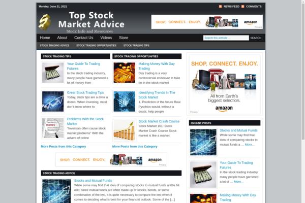 TopStockmarketAdvice.com - Hot Niche! - Stock Advice Blog - Amazon and Clickbank Ads! - BIN Bonuses!