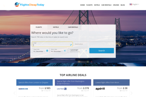 FlightsCheapToday.com - Fully Automated Travel Website - Earn Up to $2500/mo - Huge Buy It Now Bonuses!