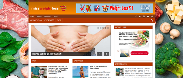 missweightloss.com - Weight Loss Blog with Unique Content 12,000 + Words. ClickBank, Amazon Affiliate