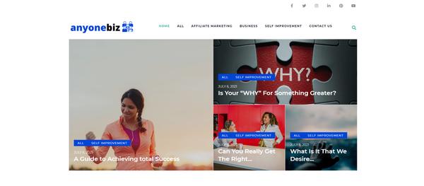 anyonebiz.com - Business Blog with Unique Content 12,000 + Words. Affiliate Marketing, Ads &...