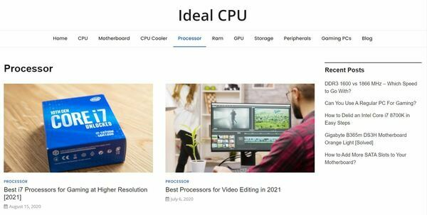 Ideal CPU  - Ideal CPU is a 1.5 Years Old Growing Amazon Affiliate Blog in Computer Peripherals Niche Earning $800/Month (36,000 Page Views P/M)