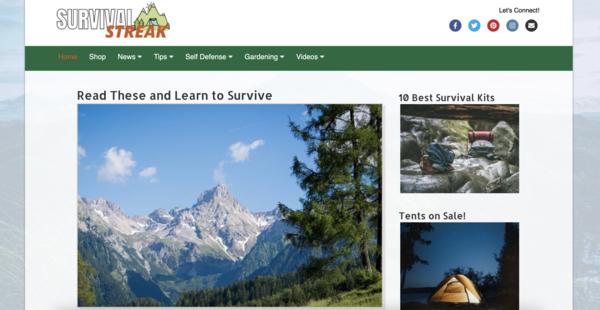 SurvivalStreak.com - Fast Loading/Optimized Survival eStore/Blog. Amazon, Ads+. Newbie Friendly.