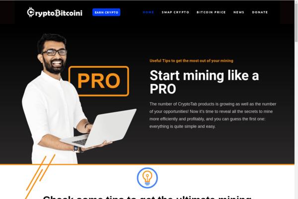 CryptoBitcoini.com - Crypto Mining Affiliate website - Changelly Affilaite / Crypto Donation.