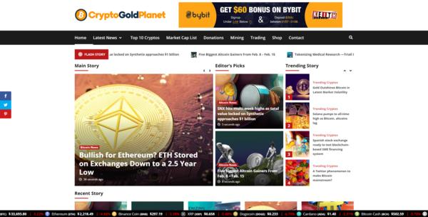 CryptoGoldPlanet.com - Autopilot Crypto Bitcoin News Magazine Blog To Make Money Online