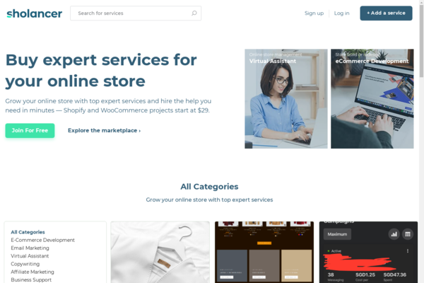 sholancer.com - High potential freelance service marketplace with 1500 sellers
