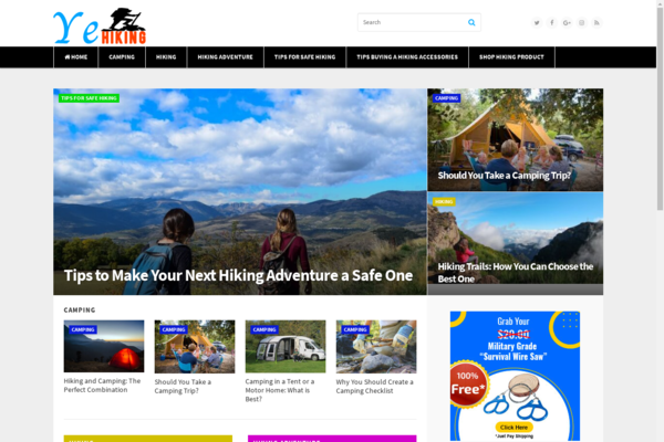 yehiking.com - Premium 100% done for you hiking Information website