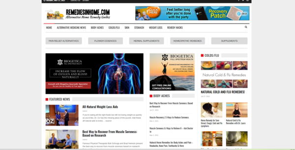 remediesinhome.com - Remediesinhome.com 100% automated remedy/cures guides affiliate product website
