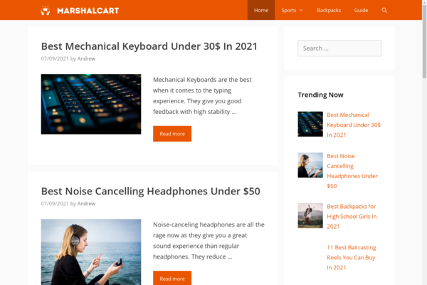 marshalcart.com - Affiliate Marketing Site - Revenue Growth Potential