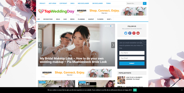 TopWeddingDay.com - 100% Autopilot & Automated Wedding Blog Site To Make Money Online From Amazon Ads, Affiliate Links on Blog Posts - 200 Amazon Products Pasted
