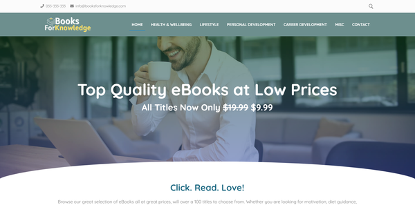 BooksForKnowledge.com - Fully Stocked eBook Store, Great Passive Income Potential, Premium Domain