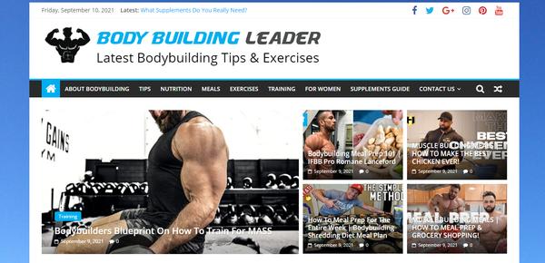 BodyBuildingLeader.com - Premium Design Bodybuilding & Workout Site, 100% Automated, 1 Extra site Or 1 Year free hosting for BIN + Bonuses